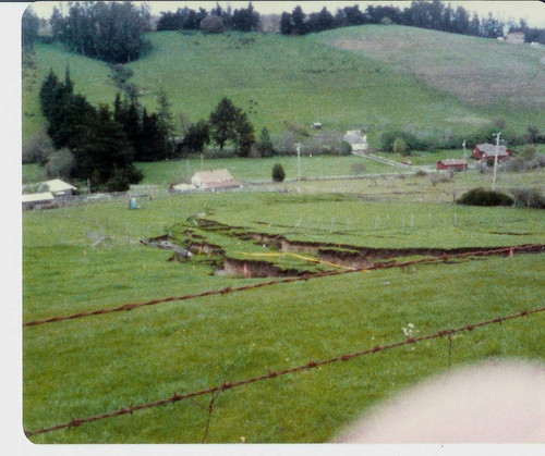 View of the damage caused by a landslide at 2540 Blucher Valley Road, south of Sebastopol, California, April 1983