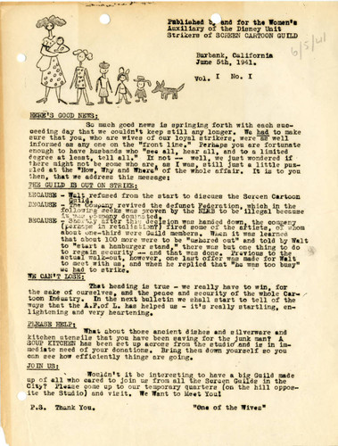 Bulletin of the Women's Auxiliary of the Disney unit strikers, June 5, 1941