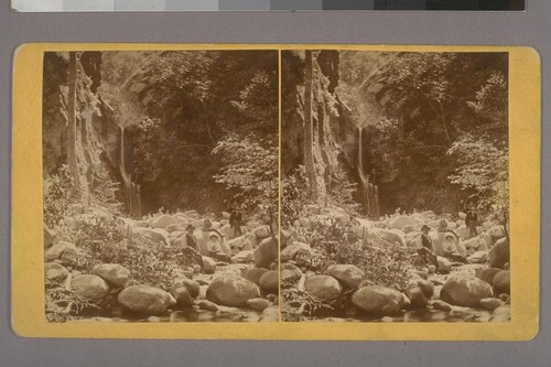 [Group of people at foot of waterfall]--Photographer: T. G. Norton--Place of Publication: Pasadena, California