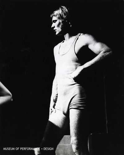 "Male performer in Halprin's ""Animal Ritual"""