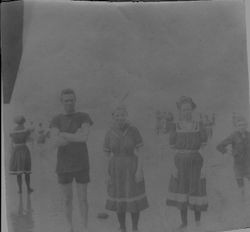 Group in bathing suits, possibly on the Russian River or at the Sonoma coast, about 1920s