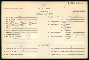 WPA Low income housing area survey data card 70, serial 15583