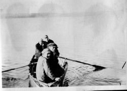 Unidentified row-boaters at Bodega Bay
