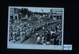South African pipers march through Addis Ababa after the liberation of the capital from Axis domination. [in Arabic]