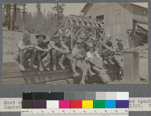 Most of the Califorest '20 bunch. Lunch hour at Spanish Peak Lumber Company plant. Near Quincy, California. August, 1920. E.F