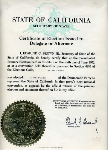 Certificate of Election Issued to Delegate