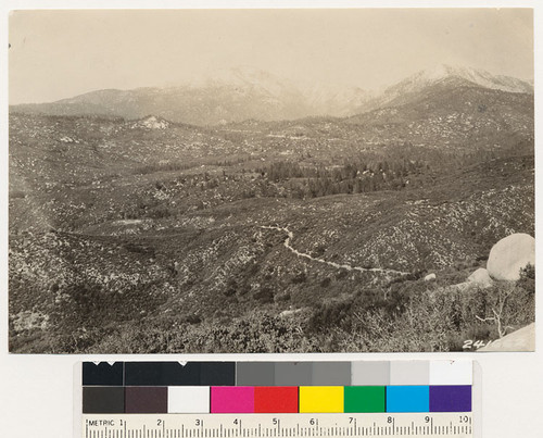 Looking north toward Mt. San Jacinto. Chamise, chamise-manzanita and chamise mixed types on south and southwest slopes. Note Coulter pine relicts
