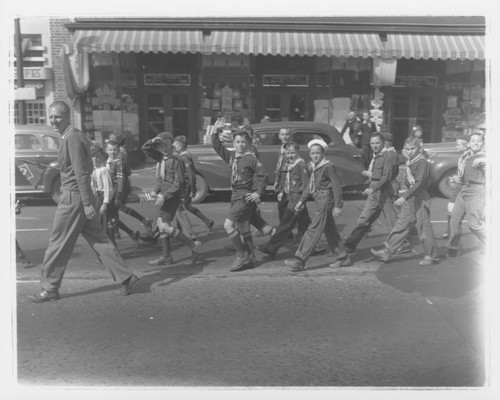 Cub Scouts marching in a parade, Petaluma, California, about 1935