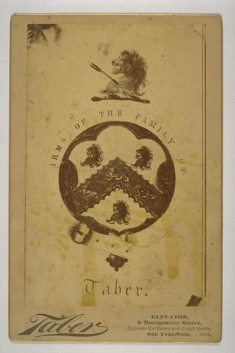 Arms of the Family of Taber. [Photographic reproduction by Isaiah West Taber. April 25, 1884.]