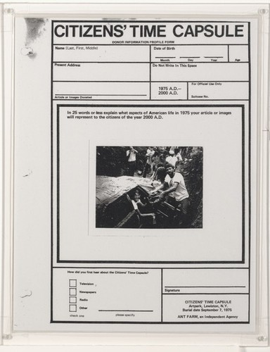 Calisphere: Citizens' Time Capsule Donor Information Form (Ant Farm