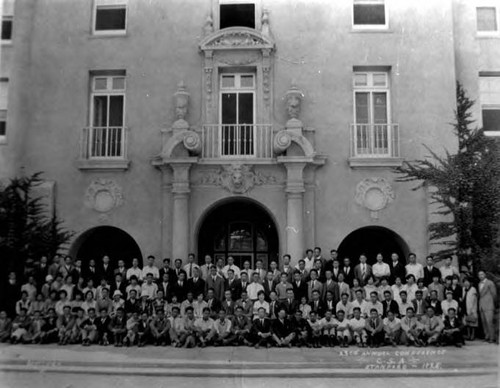 "Stanford Conference, CSA second row, second from right: Loy Kwok. ""23rd Annual Conference, USA, Stanford, 1925, SHATTUCK"""