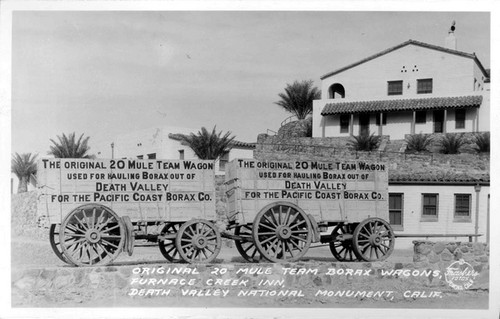 Calisphere original 20 mule team borax wagons furnace creek inn death valley national for 20 mule team borax swimming pools