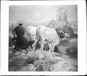 Painting by Einar Corsten Petersen, depicting a priest plowing the grounds of a mission with oxen