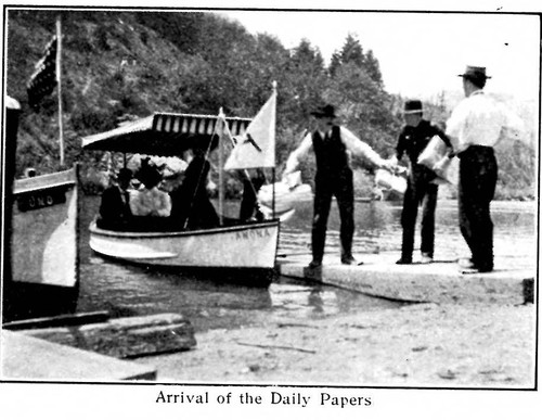 Arrival of the Daily Papers, from postcard booklet of Monte Rio on the Russian River, California, circa 1900s