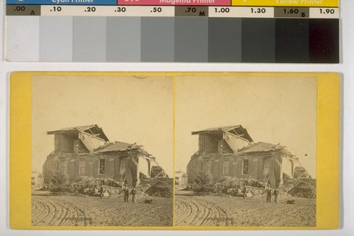 Court House, San Leandro. County seat of Alameda Co. After the Earthquake. Oct 21, 68 [i.e. 1868]. [Duplicate of 7.]