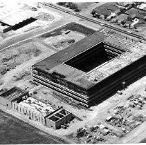 Pacific Telephone Co. headquarters under construction: aerial view