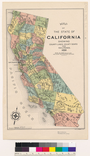 Map Of The State Of California Showing County Lines County Seats