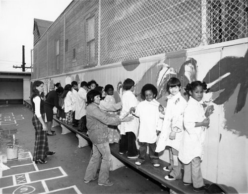 [Students painting a mural in the playground of John Muir School]