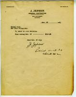 Invoice from J. Jepson, General Contractor, November 18, 1933