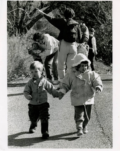 Children on nature walk in Solstice Canyon, 1993