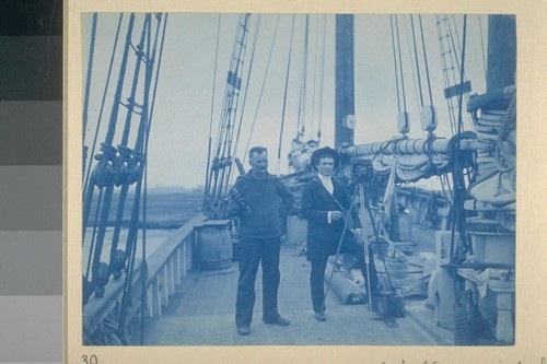 [Herman George] Scheffauer with his view camera. [On unidentified vessel.]