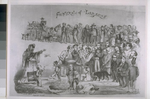 Emperor Norton's dog Lazarus. Funeral with Emperor Norton dressed as the Pope reading the prayers. Bummer is the Emperor's other dog, still alive in this picture. [Reproduced from unidentified print source.]