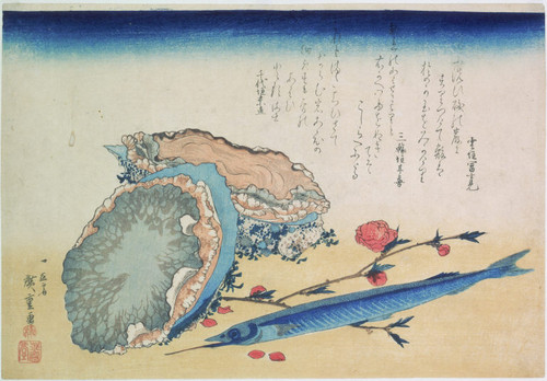 Abalone, sayori and blossoming peach branch, from an untitled set of ten prints of fish