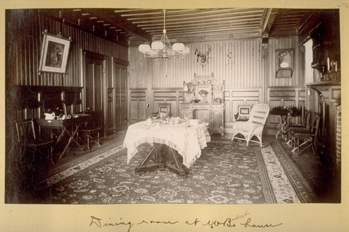Dining room at WB's [i.e. William Babcock's] house. 1881