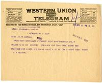 Telegram from William Randolph Hearst to Julia Morgan, April 6, 1923