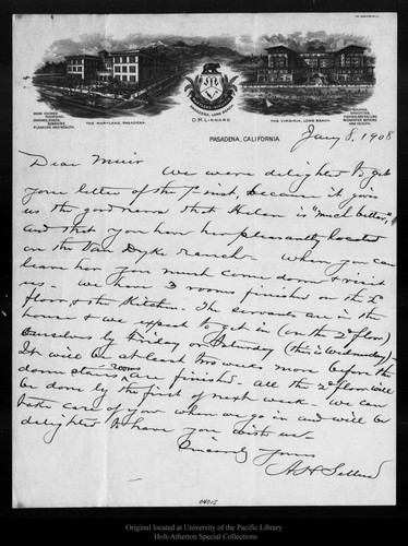 Calisphere: Letter from A  H  Sellers to John Muir, 1908 Jan 8