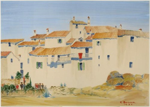 Iberian village, watercolor on paper, 1932