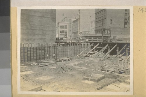 Framing concrete walls. S & H. Lachman Estate Bldg. S. W. corner Fremont & Market Sts. S. F. Picture taken June 1910. H. H. Hilp Jr