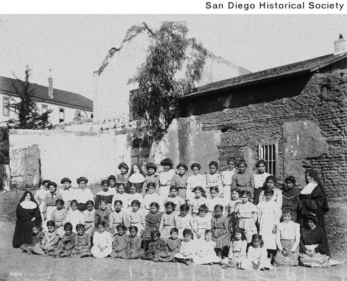 Native American students and nuns at the Mission San Diego de Alcala