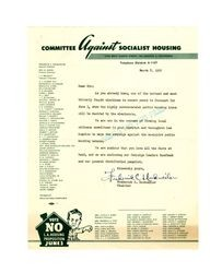 Committee Against Socialist Housing campaign letter, March 8, 1952