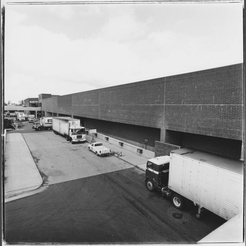 Access road behind Santa Rosa Plaza and parking structure, Santa Rosa, California, 1982