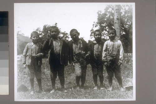 5 small school boys: Francis Colegrove, Fred Rickey, Henry Cooper, Charlie Hayden, George Randall