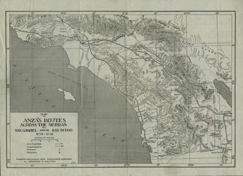 1774 Map of Anza's Routes Across the Sierras