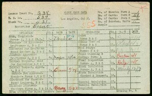 WPA block face card for household census (block 431) in Los Angeles County