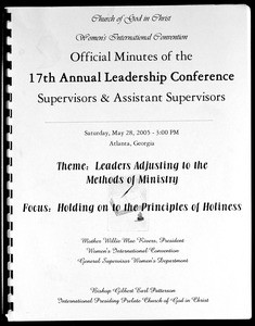 17th Annual Leadership Conference, COGIC, Women's International Convention, Supervisors & Assistant Supervisors Session, minutes, 2005