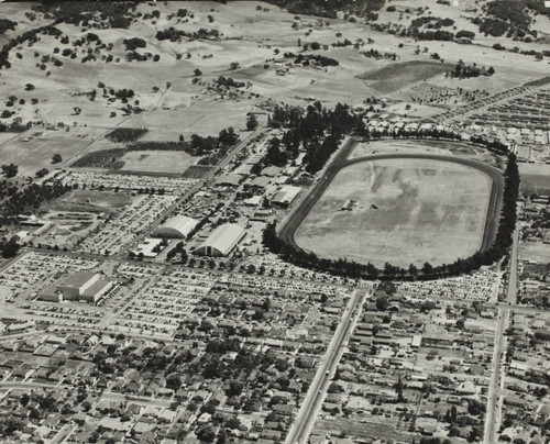Aerial view of the Sonoma County Fairgrounds, Santa Rosa, California, about 1955