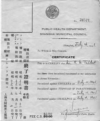 Calisphere Shanghai Public Health Department Certificate