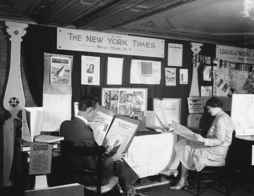 New York Times booth at L.A. Public Library, view 3