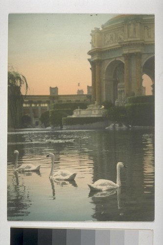 Lagoon, Palace of Fine Arts (Bernard R. Maybeck, architect). Hand-colored