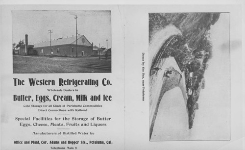 Advertisement and view of the Western Refrigerating Company, Petaluma, California, ca. 1910