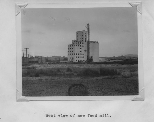 West view of the Poultry Producers of Central California feed mill, Petaluma, California - nearly completed, 1938