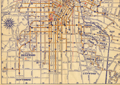 Calisphere: Official Los Angeles Railway Route Map, 1945 (page 3) on map of united states, map of columbus ohio, map of chicago, map of louisiana, map of calabasas, map of rhode island, map of san diego, map of san francisco, map of orange county, map california, map of santa clarita, map of west covina, map of venice beach, map of seattle, map of costa mesa, map of la, map of ventura, map of sherman oaks, map of new york, map of carlsbad,