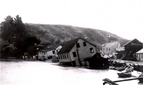 The Flagstaff Inn and the Bolinas Tavern, tipped into the Bolinas Lagoon during the earthquake of April 18, 1906, Marin County, California [[photograph]