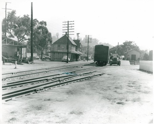 South Pasadena Santa Fe RR Station, with Boxcar on Left