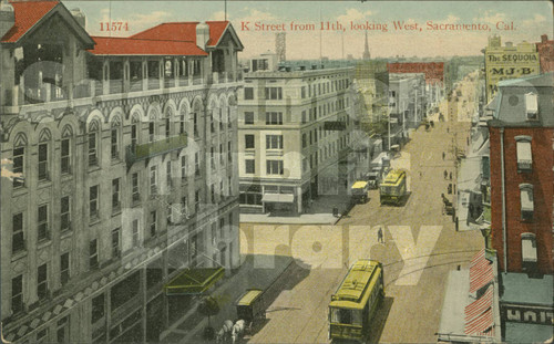 K Street from 11th, Looking West, Sacramento, Cal. - Cardinell Vincent Co