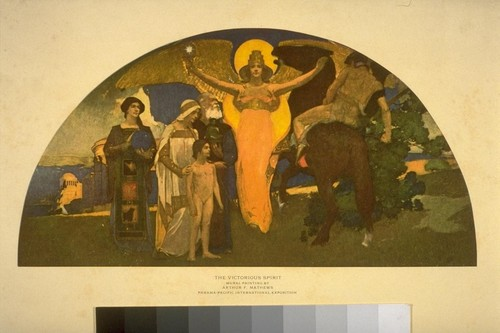 The Victorious Spirit. Mural Painting by Arthur F. Mathews. Panama-Pacific International Exposition. [Full-color reproduction.]